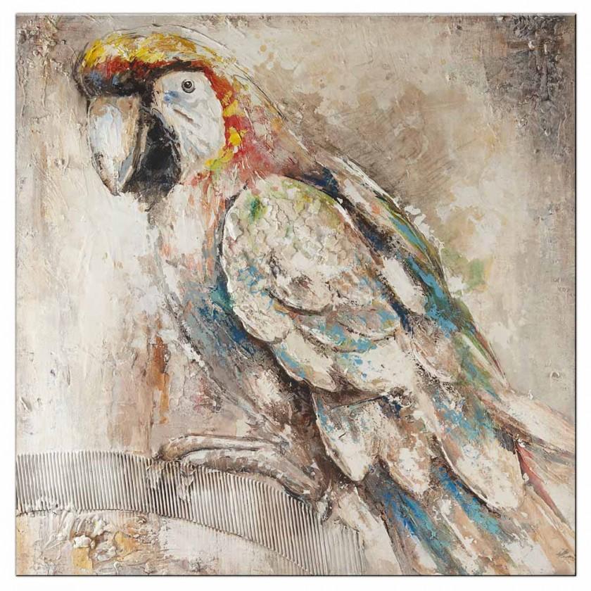 Obrazy Ručně malovaný obraz Parrot (100x100 cm)