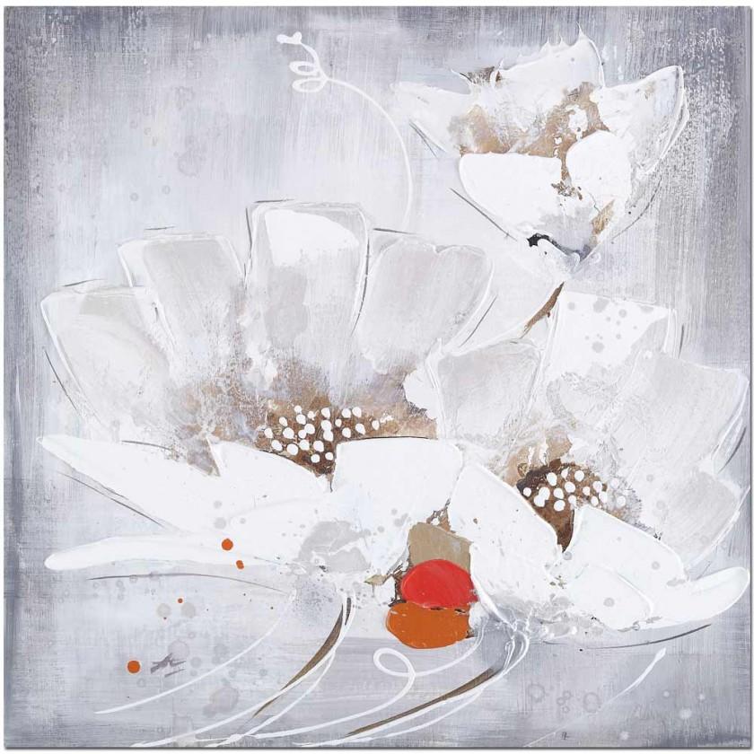 Obrazy Ručně malovaný obraz Whiteflowers (60x60 cm)