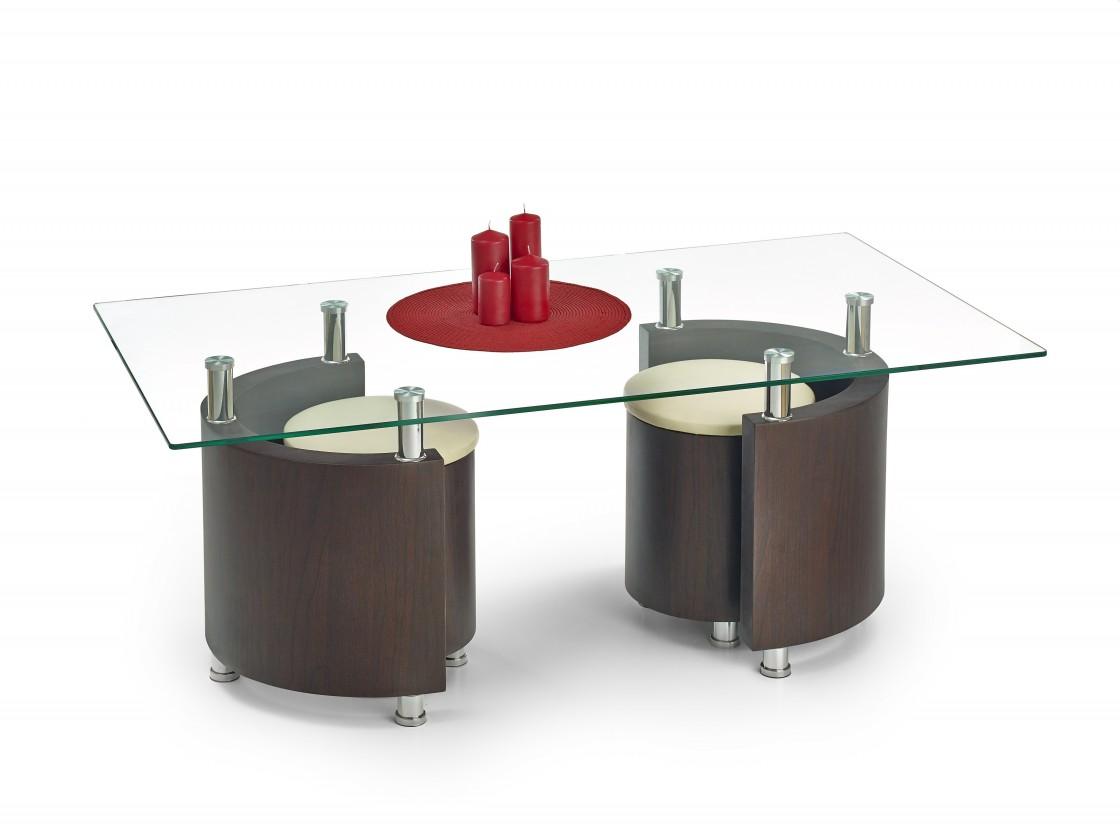 Obývací pokoje ZLEVNĚNO Angel - Konferenční stolek (wenge/krémová)