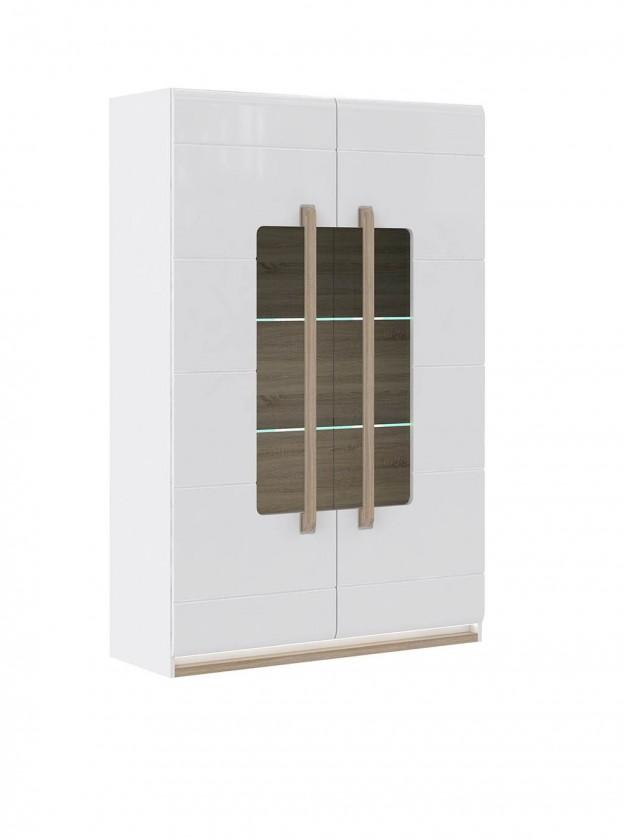 Obývací pokoje ZLEVNĚNO Attention-ATNV62B(P50 - bílý / dub sonoma / bílý lesk)