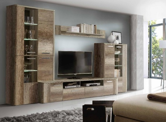 Obývací pokoje ZLEVNĚNO Belmondo BLDM01LB - Obývací stěna (dub antický/cacao supermat)