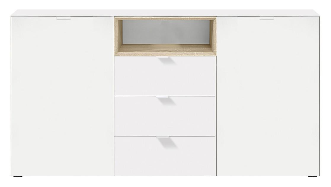 Obývací pokoje ZLEVNĚNO Chase - Komoda 5727161 (bílá, nika dub HN)