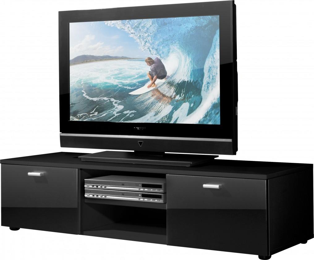Obývací pokoje ZLEVNĚNO Easy - TV stolek, 3665-83 (černá/černá vysoký lesk)