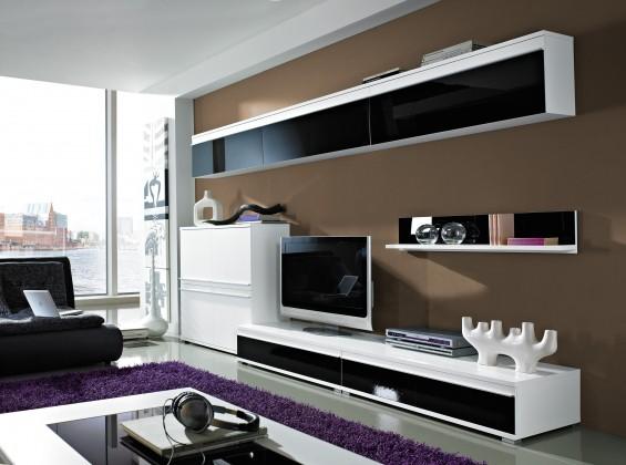 Obývací pokoje ZLEVNĚNO Freestyle - Obývací stěna, set GW (bílá/černá, bílá)