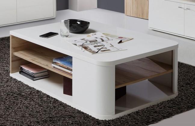 Obývací pokoje ZLEVNĚNO Marlow - Konferenční stolek (bílá/bílá lesk/dub)
