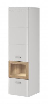 Obývací skříně Box In - Skříň, levá (bílý korpus/bílý front, dub okraje)