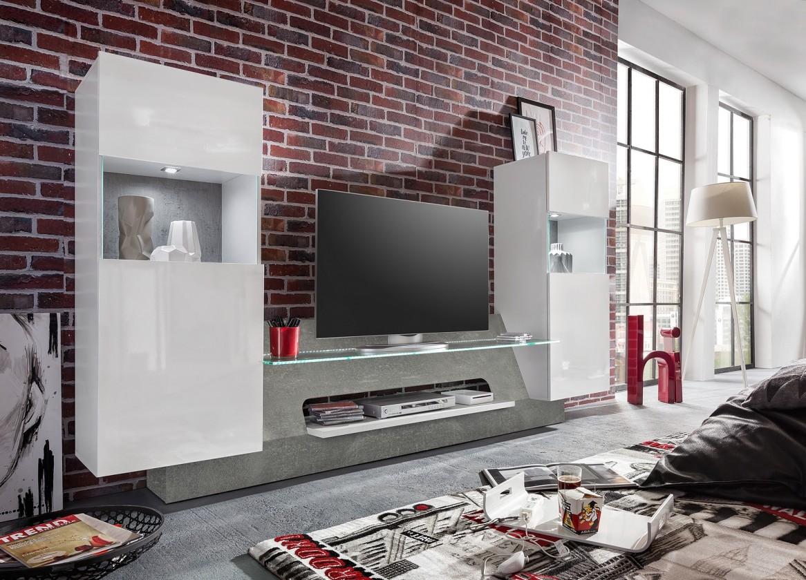 Obývací stěna Air - Obývací stěna,2x osvětlení (bílá mat/bílá lesk)