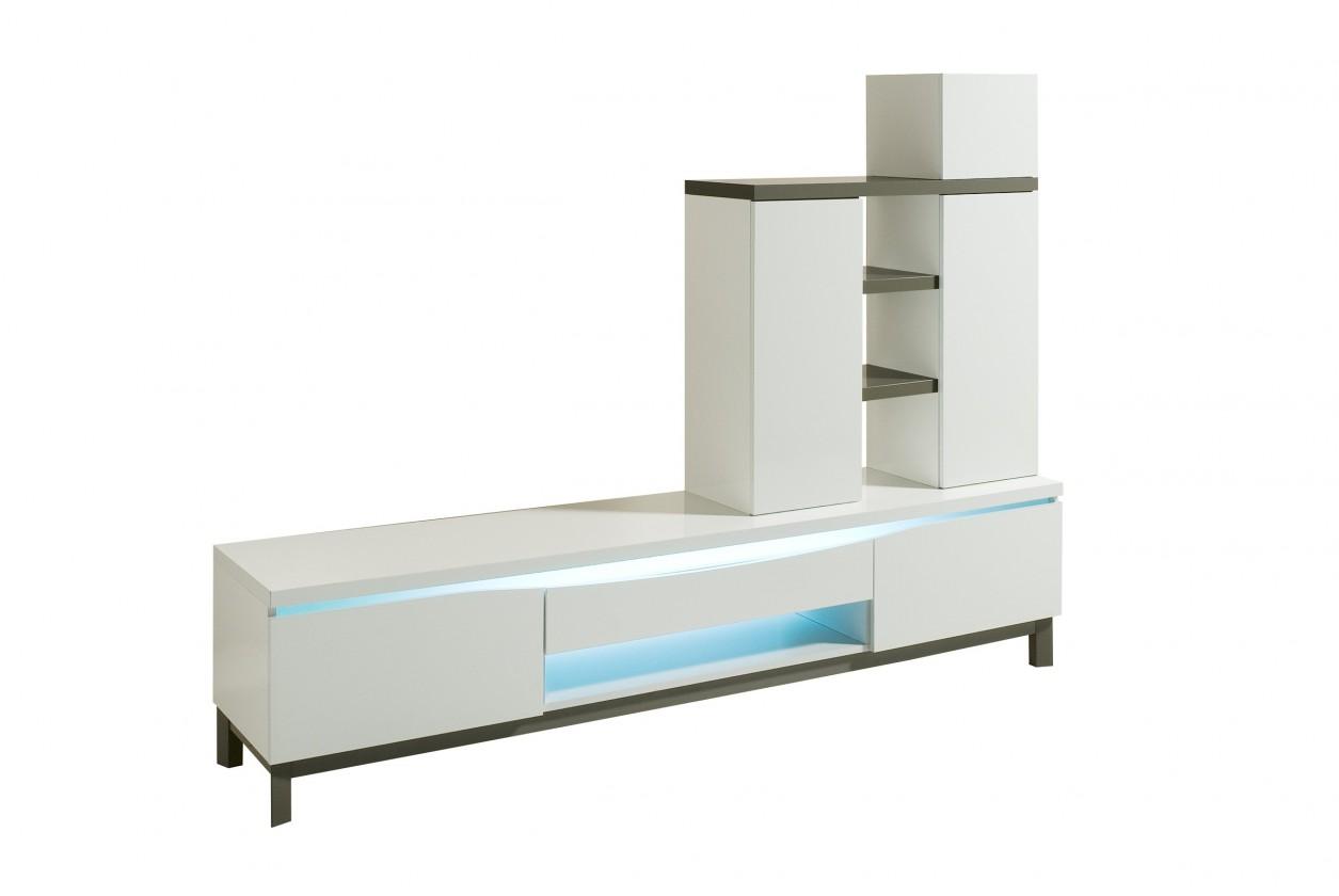 Obývací stěna Almera - TV stěna (bílá/šedá)