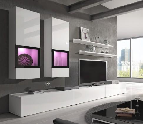 Obývací stěna Baros - Obývací stěna, 2x vitrína, TV stolek, 2x police
