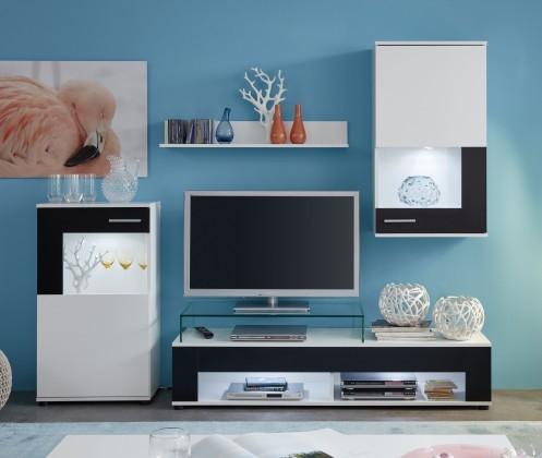 Obývací stěna Corner - Obývací stěna (bílá mat/bílá, černá mat)