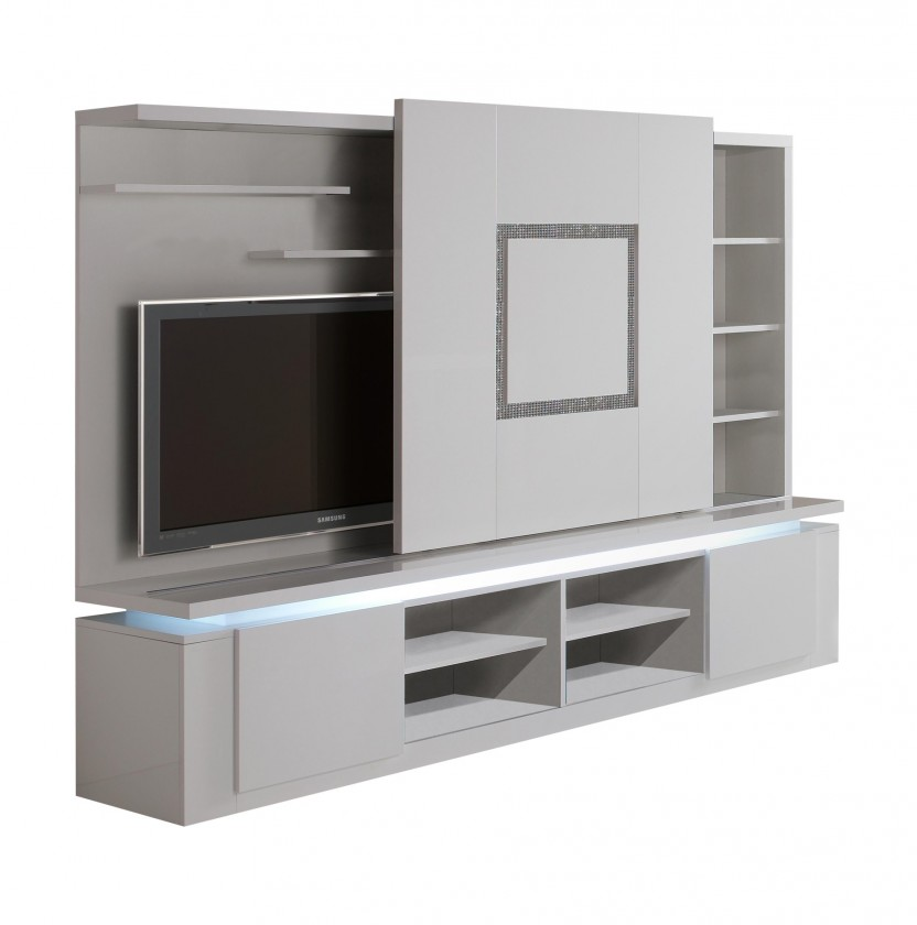 Obývací stěna Diva - TV stěna (bílá/diamant)