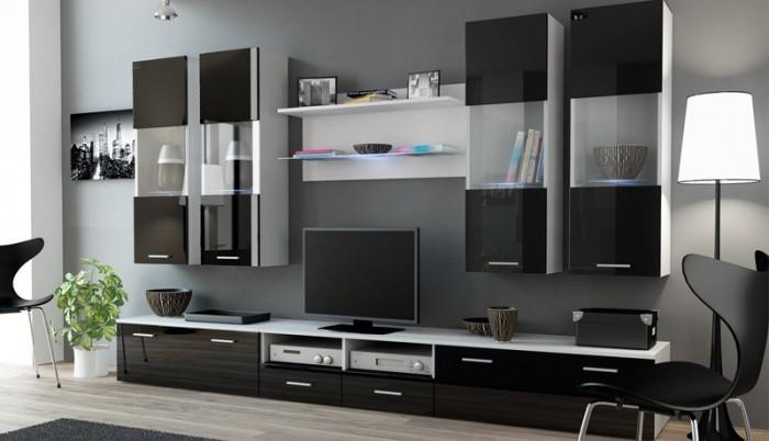 Obývací stěna Dream 1 (bílá matná / lesklá černá)