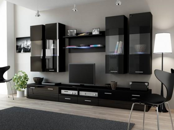 Obývací stěna Dream 1 (černá matná / lesklá černá)