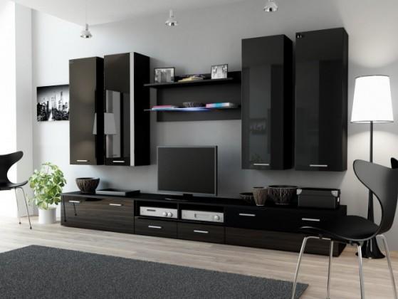 Obývací stěna Dream 3 (černá matná / lesklá černá)