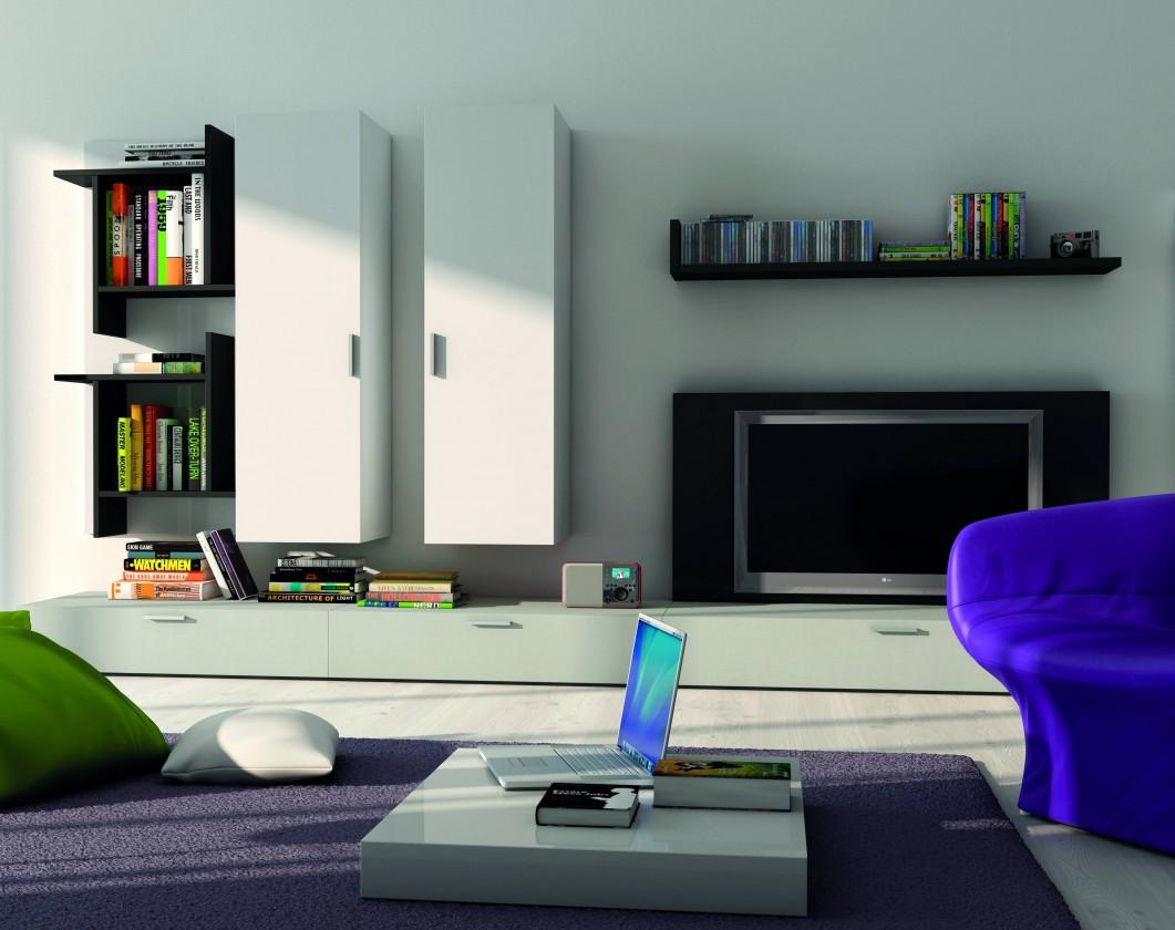 Obývací stěna Fizzy 13 - Obývací stěna (bílá/lesk bílá/černá/lesk černá/titan)