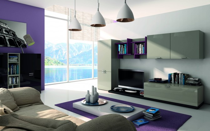Obývací stěna fizzy(titanio/nero/viola) - ii. jakost