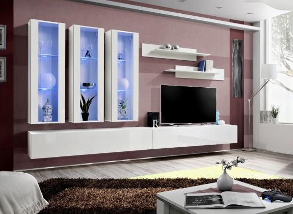 Obývací stěna Fly E3 Stěna, 3x vitrína, 2x police, RTV (bílý mat/bílý lesk)