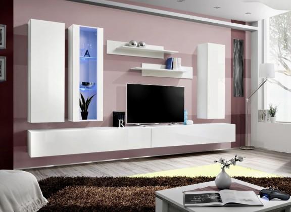 Obývací stěna fly e4 stěna, vitrína, 2x skříň, 2xpolice (bílý mat/bílý lesk)
