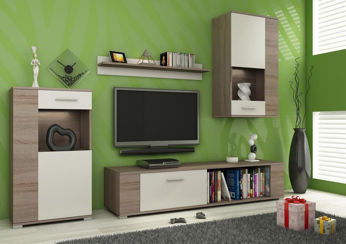 Obývací stěna Foxy - Obývací stěna, LED (dub trufel/bílá, dub trufel, fronty)