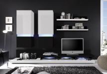 Obývací stěna Frisco (Bílá/černá VL) - II. jakost