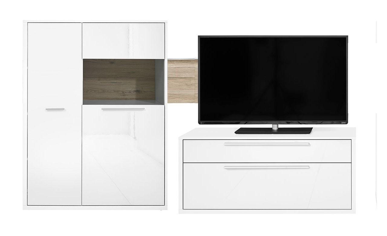 Obývací stěna Gamble - Obývací stěna 570704R (bílá/bílá lesk/panel dub sand)