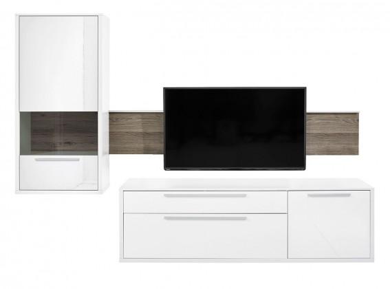 Obývací stěna Gamble - Obývací stěna 570705L (bílá/bílá lesk/panel dub tmavý)