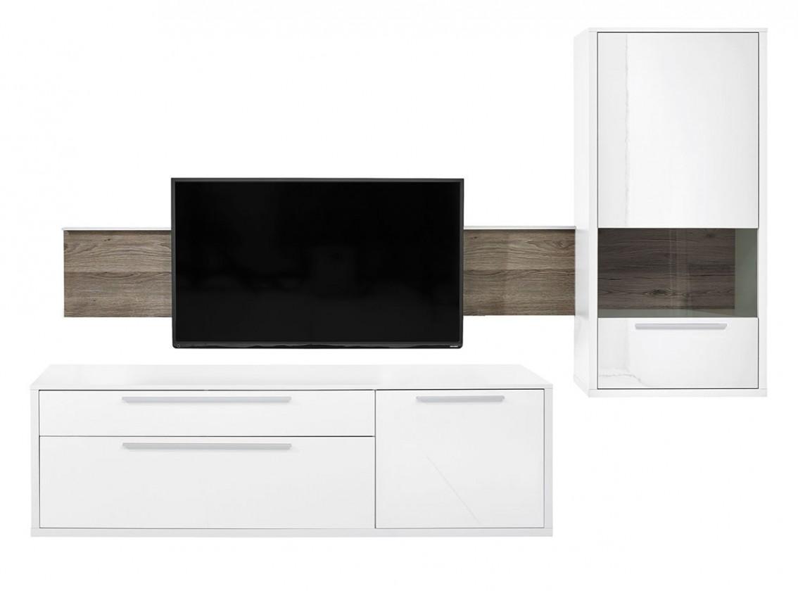 Obývací stěna Gamble - Obývací stěna 570705R (bílá/bílá lesk/panel dub tmavý)