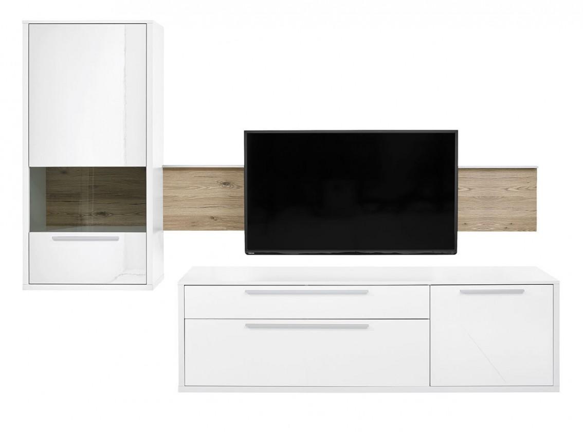 Obývací stěna Gamble - Obývací stěna 570706L (bílá/bílá lesk/panel dub sand)
