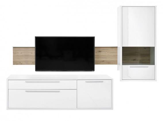Obývací stěna Gamble - Obývací stěna 570706R (bílá/bílá lesk/panel dub sand)