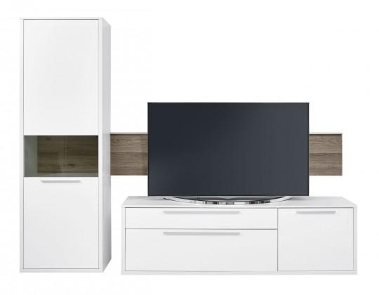 Obývací stěna Gamble - Obývací stěna 570707L (bílá/bílá lesk/panel dub tmavý)