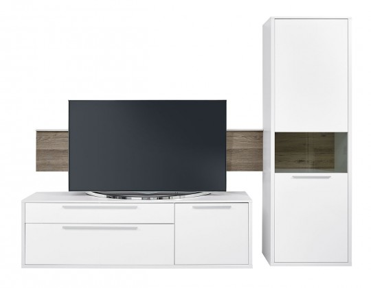 Obývací stěna Gamble - Obývací stěna 570707R (bílá/bílá lesk/panel dub tmavý)