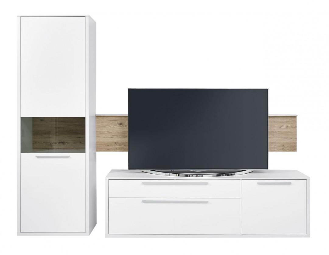 Obývací stěna Gamble - Obývací stěna 570708L (bílá/bílá lesk/panel dub sand)