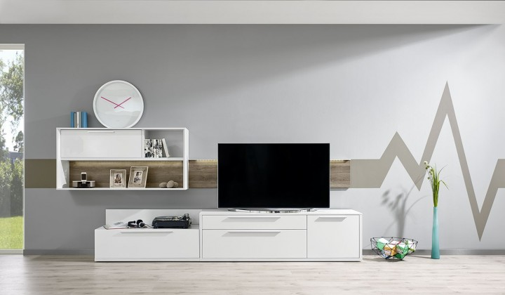 Obývací stěna Gamble - Obývací stěna 570709 (bílá/bílá lesk/panel dub tmavý)