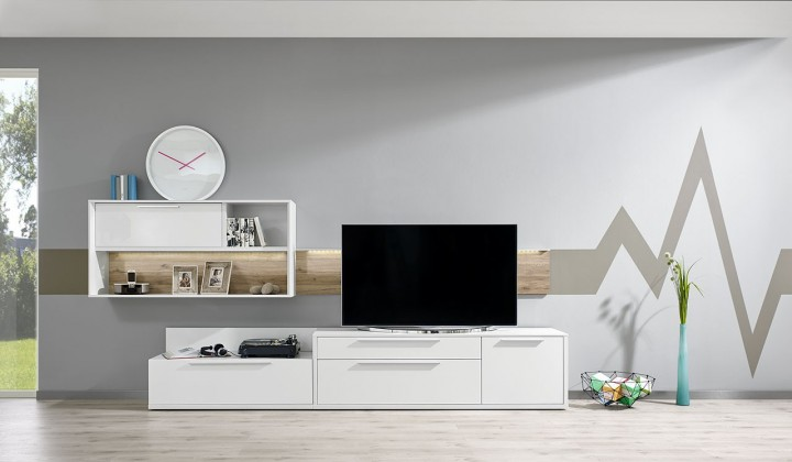 Obývací stěna Gamble - Obývací stěna 570710 (bílá/bílá lesk/panel dub sand)