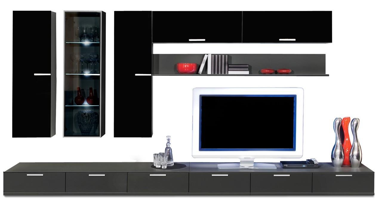 Obývací stěna Game - obývací stěna 349205 (černá/černá)