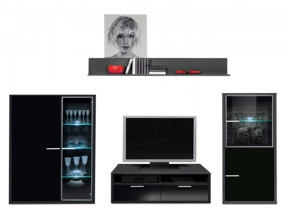 Obývací stěna Game - obývací stěna 3492259 (černá/černá)
