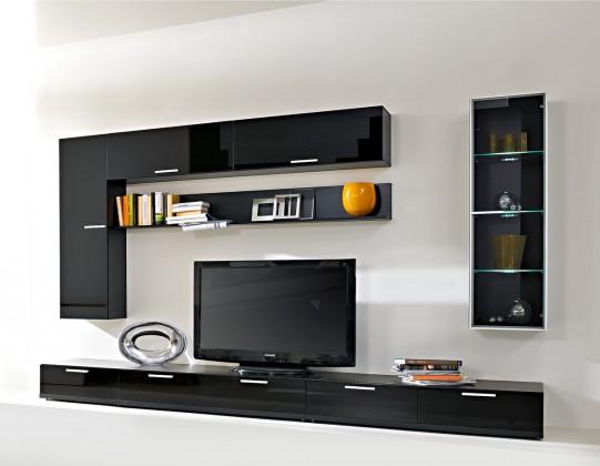 Obývací stěna Game - Obývací stěna  (černá/černá sklo GS)