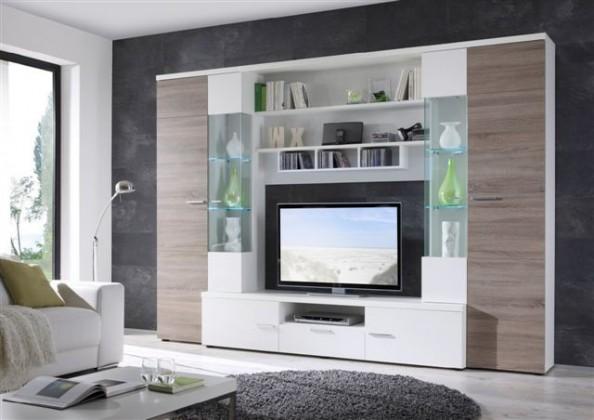 Obývací stěna Gianii - obývací stěna (bílá/dub truffel)