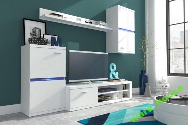 Obývací stěna Intel - Obývací stěna (bílá/bílá lesk)