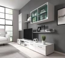 Obývací stěna Klara (bílý mat/lesk)