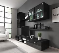 Obývací stěna Klara (černý mat/lesk)