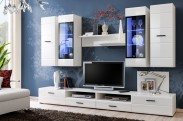 Obývací stěna Lauren (bílý korpus/ bílý lesk fronty)