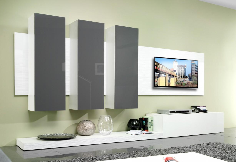 Obývací stěna Life (bílá mat/šedá lesk)