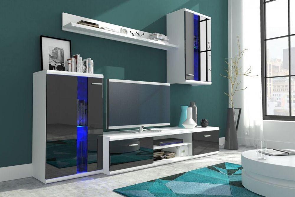 Obývací stěna Life - Obývací stěna (bílá/černá lesk)