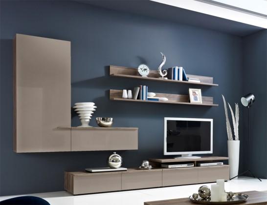 Obývací stěna Linea - obývací stěna 2657454 (dub tmavý/šedý kám.lak/dub tmavý)