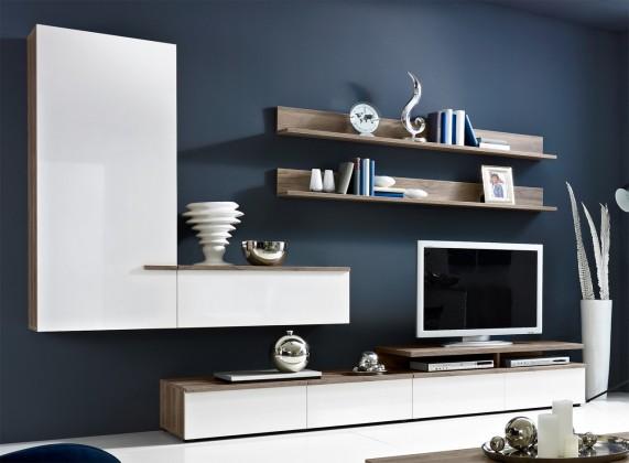Obývací stěna Linea - obývací stěna 2657457 (dub tmavý/bílá lak/dub tmavý)