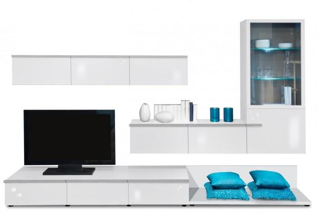 Obývací stěna Linea - obývací stěna 2677108 (bílá/bílá lak HG/stříbrná)