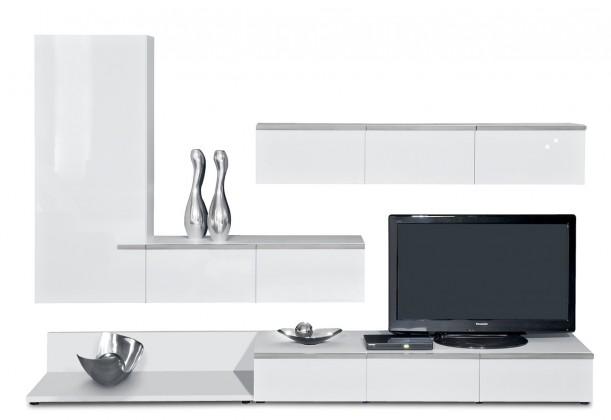 Obývací stěna Linea - obývací stěna 2677308 (bílá/bílá lak HG/stříbrná)