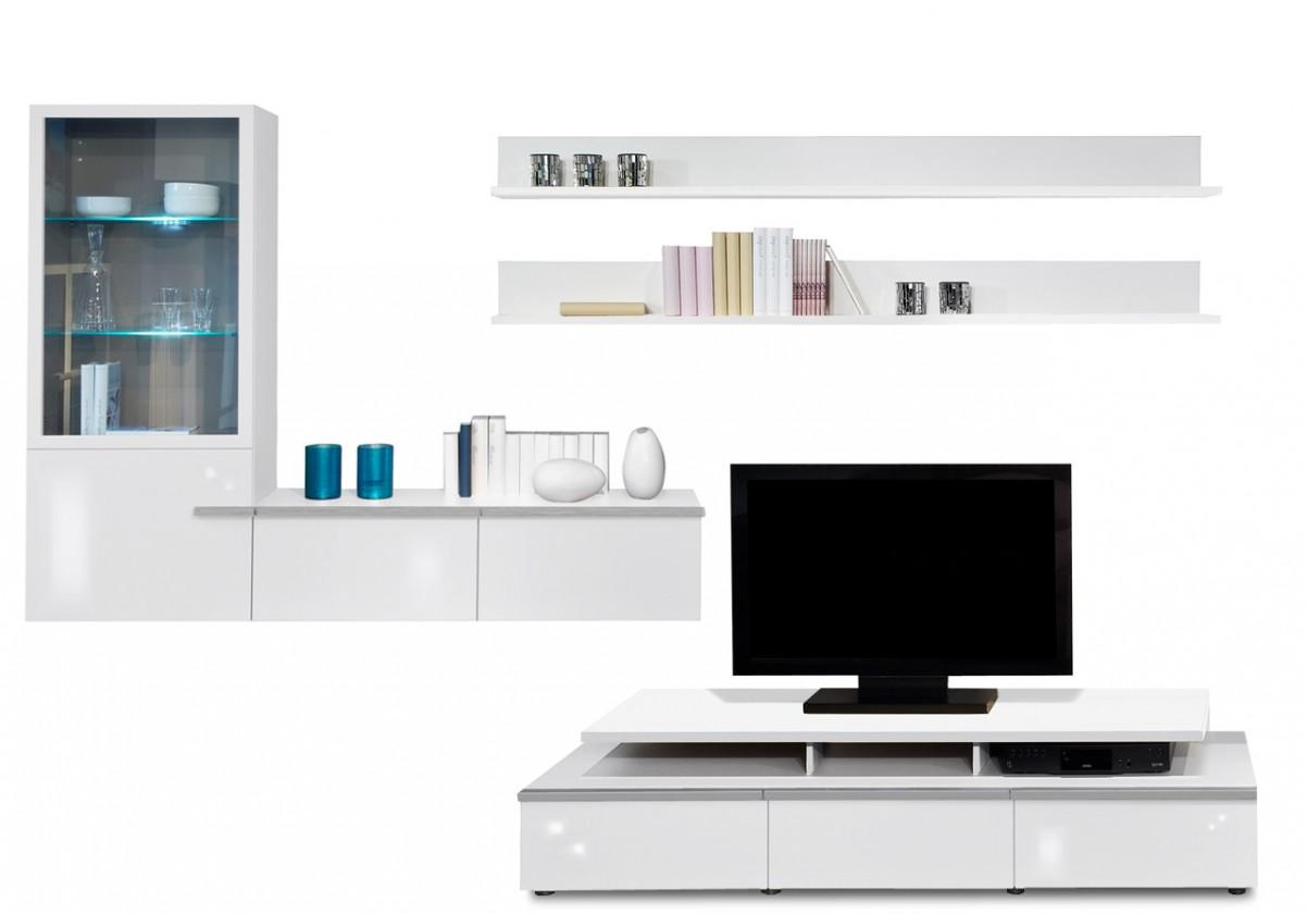 Obývací stěna Linea - obývací stěna 2677408 (bílá/bílá lak HG/stříbrná)