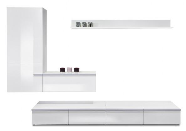 Obývací stěna Linea - obývací stěna 2677558 (bílá/bílá lak HG/stříbrná)